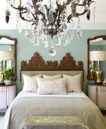 color, tall lamps, large mirror over each bedside table... Love!  Especially great if you don't have windows by the bed...mirrors fix everything!!!