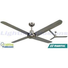 "Martec Trisera 3 or 4 1200mm 48"" Metal Ceiling Fan - No Light - 304 Stainless Steel"