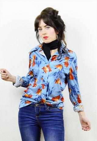70s+blue+orange+floral+print+long+sleeved+shirt