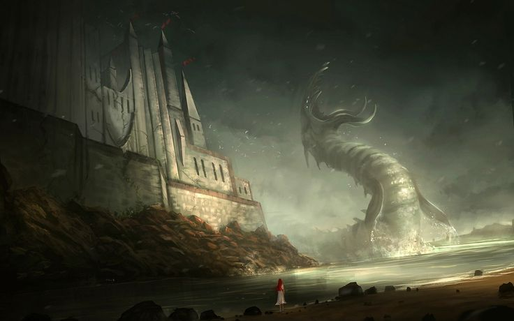 General 2880x1800 fantasy art sea monsters digital art