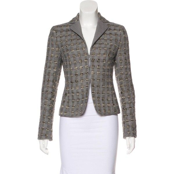Pre-owned Akris Punto Wool Notch-Lapel Blazer ($95) ❤ liked on Polyvore featuring outerwear, jackets, blazers, grey, gray blazer, woolen jacket, gray jacket, grey blazer and notch collar jacket