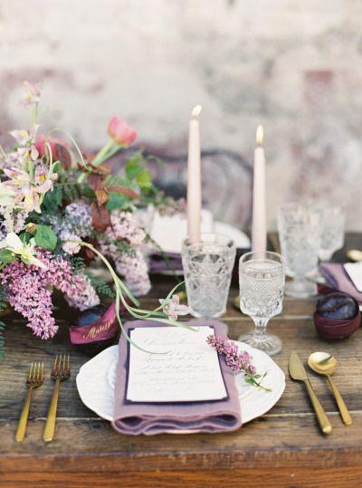 Lavender and plum table decor: http://www.stylemepretty.com/2015/05/18/purple-garden-glam-wedding-inspiration/ | Photography: Jessica Burke - http://www.jessicaburke.com/