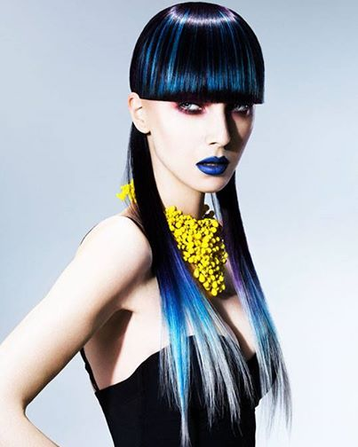 Beautiful #BlueHair design. Hair: Ben Price; MUA: Faye Campbell; Fashion Stylist: Marika Page; Photog: John Rawson