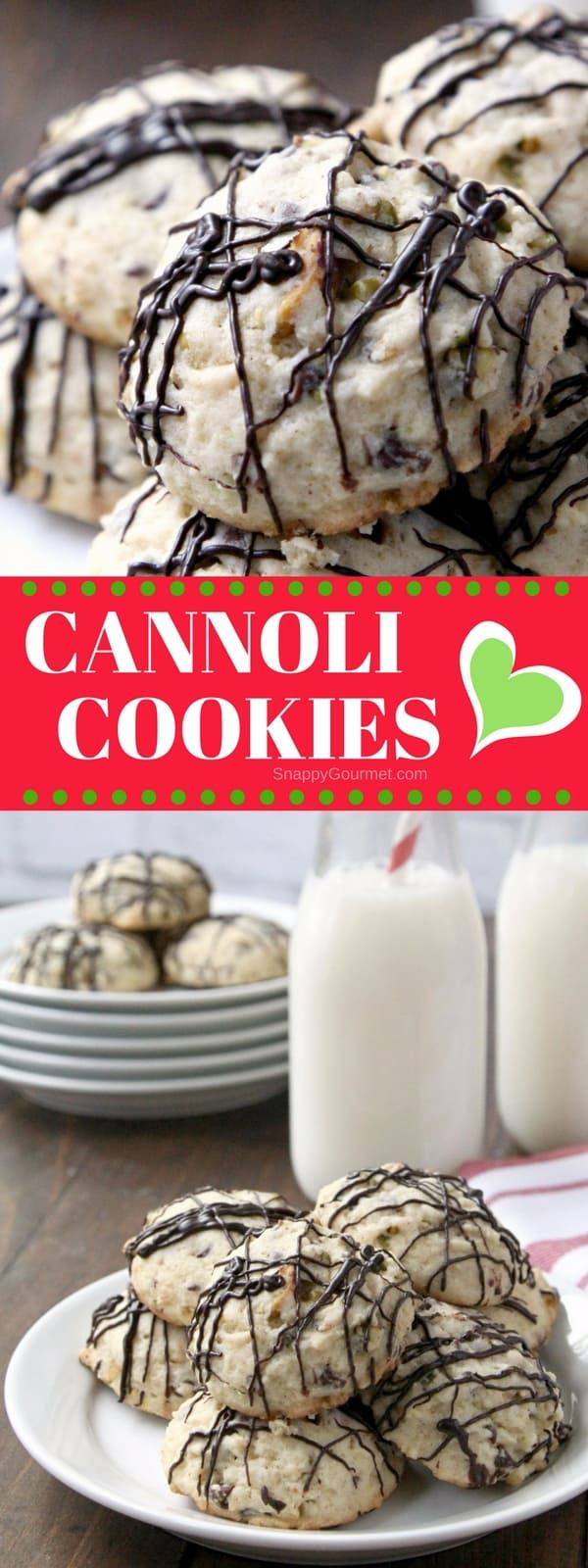 Cannoli Cookies - easy Italian Christmas Cookie with pistachios, chocolate, ricotta, and orange zest. SnappyGourmet.com #Cookies #Italian #Christmas #SnappyGourmet via @snappygourmet