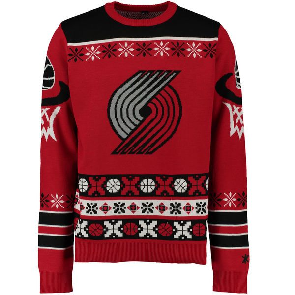 Portland Trail Blazers Klew Thematic Ugly Sweater - Red - $52.99