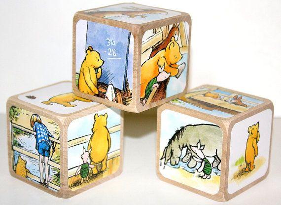 vintage winnie the pooh - children u0026 39 s wooden blocks - nursery room decor - baby gift