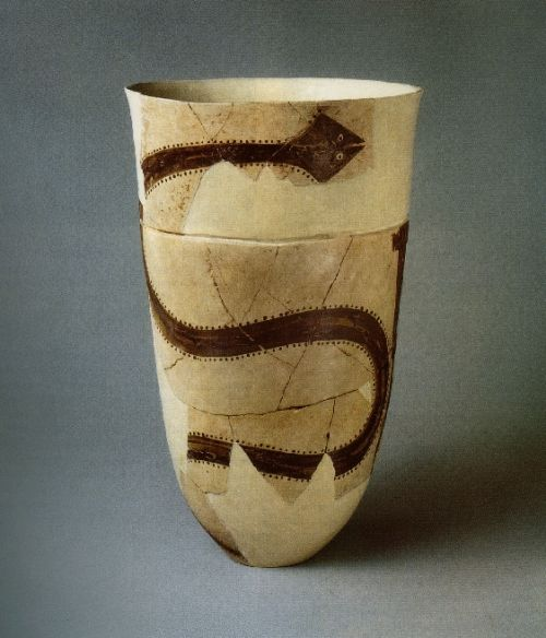 Clay beaker with images of snakes; ca. 4000 BCE; excavated at Susa, Mesopotamia. Louvre.