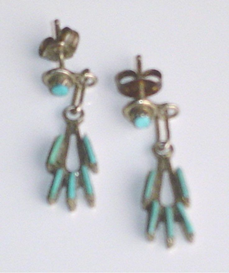 Zuni Sterling Silver and Turquoise  Petit Point Dangle Earrings c1960