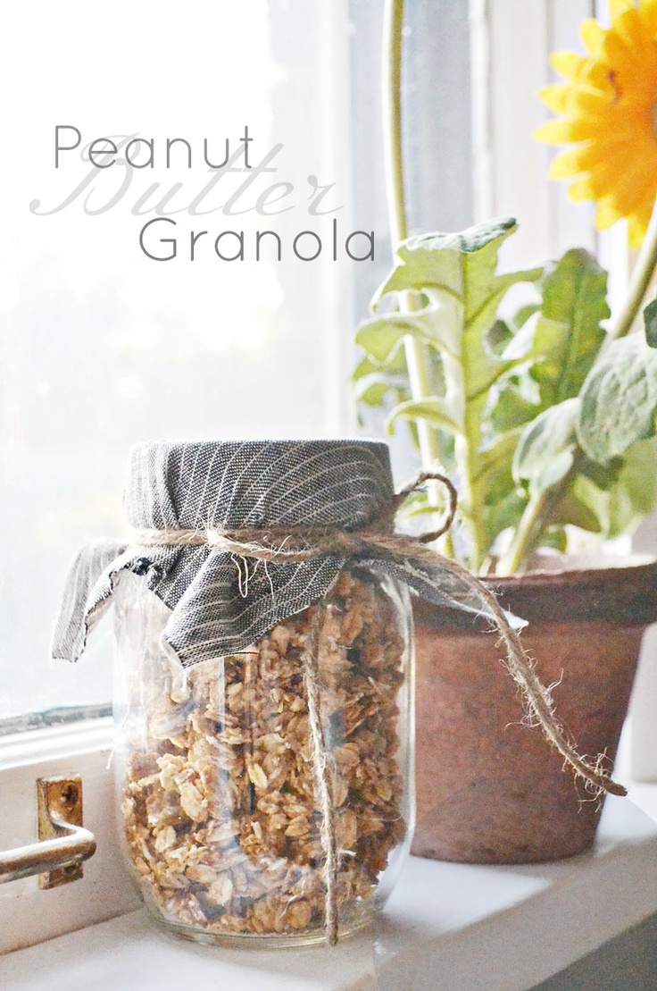 Peanut Butter Granola.-------------This is SO SO SO Good! I added 1/4 tsp salt. Had to bake for a couple extra minutes. My FAVORITE granola recipe and no oil or butter and so simple!!!