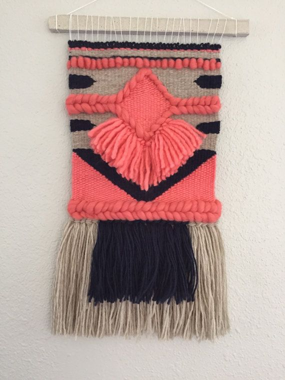 On sale // Coral and Navy Woven Wall Hanging / Weave