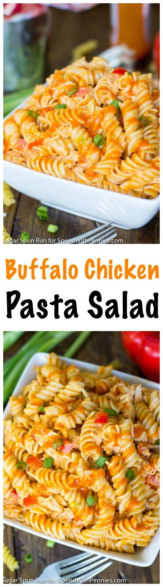 Pack a little extra heat (and a lot more flavor) into your summer cookout with this easy to make Buffalo Chicken Pasta Salad!  This easy pasta salad is sure to be the most popular dish at any get-together!: