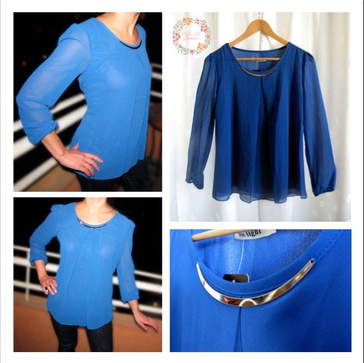 Blusa Joya Azul $8.900. Tallas S, M, L y XL.