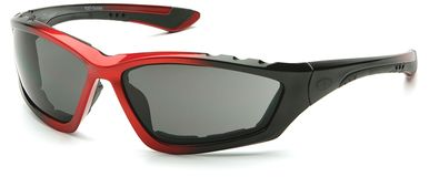 Pyramex Accurist Safety Glasses with Black/Red Frame and Gray Anti-Fog Lens