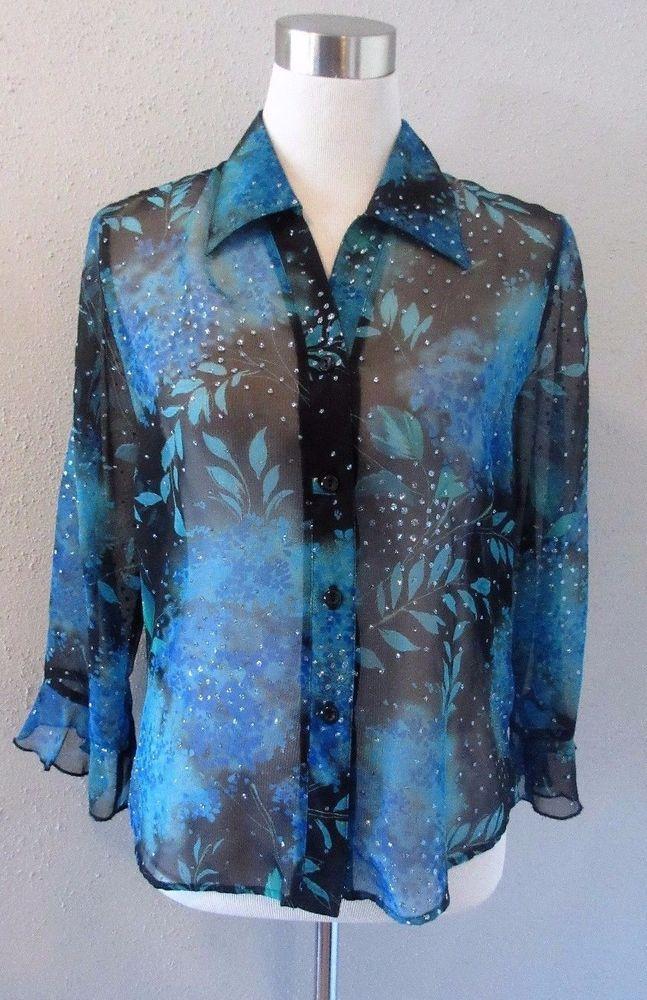 Gloria Lance Black Blue Floral Sparkle Sheer Button Down Medium Ruffle Sleeve #GloriaLance #ButtonDownShirt #EveningOccasion