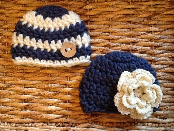 Crocheted twin hat set boy and girl beanie by CrochetnCoffeeBeans