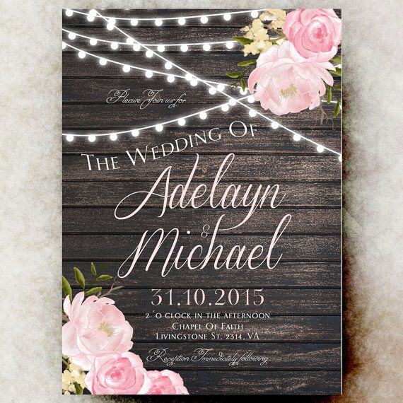 Rustic Wedding Invitation printable  blush by RavishingInvitations