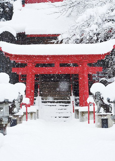 Winter Comes to the Shrine, Hachimantai, Iwate, Japan - by jasohill