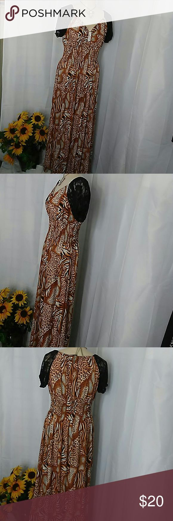 Animal Print Maxi Dress Smocked waist size XL WILL FIT UP TO 1X. BLACK LACE SLEEVES. BLING GATHERING AT bustline. Very soft silky stretchy fabric. JULIA Dresses Maxi