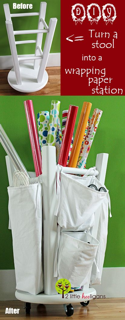 DIY Wrapping Paper Station from Kitchen Stool