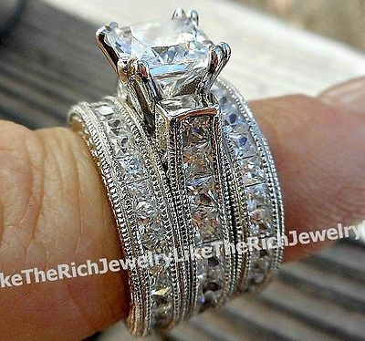 5 Carat Princess cut 925 Sterling Silver 14k Wedding Ring Band Set Women's 5-9