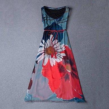 Women's Print Micro-elastic Sleeveless Maxi Dress ( Silk ) – USD $ 49.99
