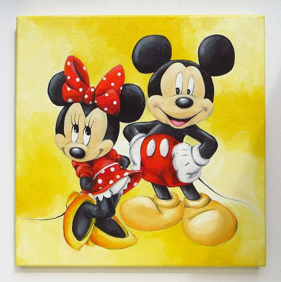 Mickey and Minnie Mickey Mouse Oil Painting Disney Hand