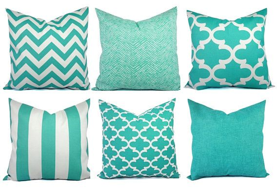 Teaal Outdoor Pillow Covers - Aqua Pillow - Teal Pillow Cover - Patio Pillow - Turquoise Pillows - Chevron