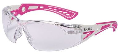 Bolle Rush Plus Small Safety Glasses with White/Pink Temples and Clear Lens with Platinum Anti-Fog