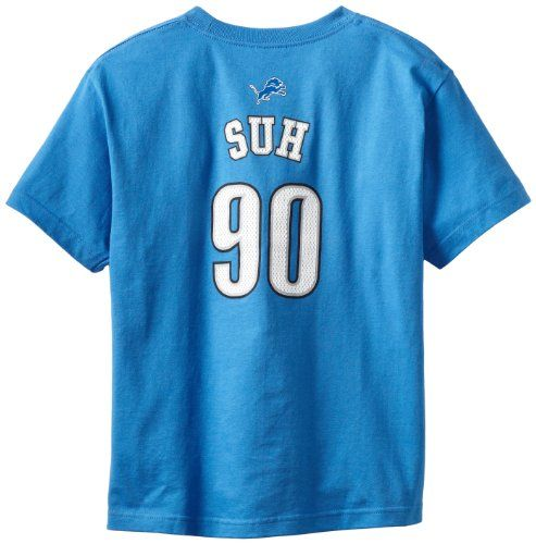 NFL Detroit Lions Ndamukong Suh 8-20 Boys Primary Gear S/S Tee  https://allstarsportsfan.com/product/nfl-detroit-lions-ndamukong-suh-8-20-boys-primary-gear-ss-tee/  100% Cotton Overlock Stitched Seams On A Polyester Dri-Tek Tee.  Screen Printed Graphic With High Density Ink. HD Screen printed team name, player name & number on a cotton jersey tee.