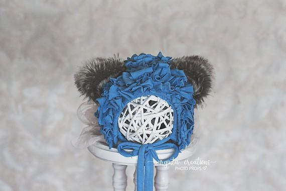 Blue teddy bear bonnet for 6-12 months old. Only one