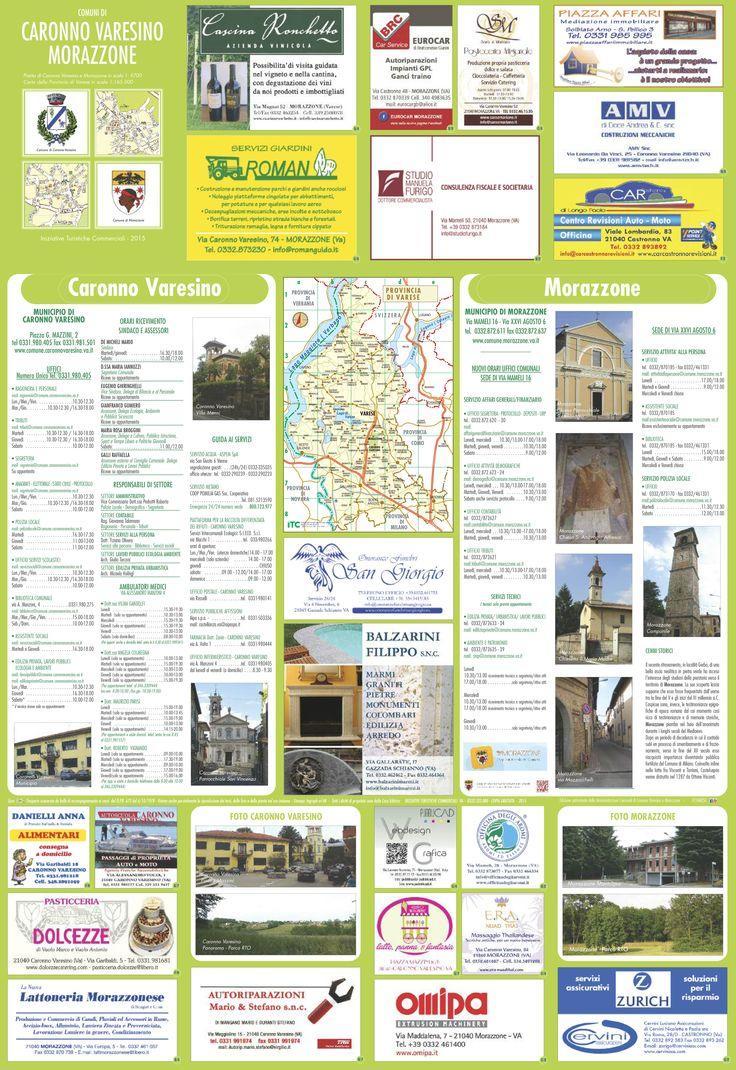 Retro della mappa con le informazioni utili sui due comuni