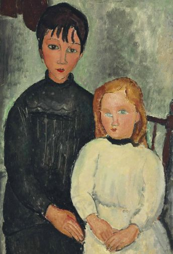 Amedeo Modigliani (1884-1920), 'Les deux filles', oil on canvas, 39 3/8 x 25 5/8 in. (100 x 65.1 cm). Painted in 1918.
