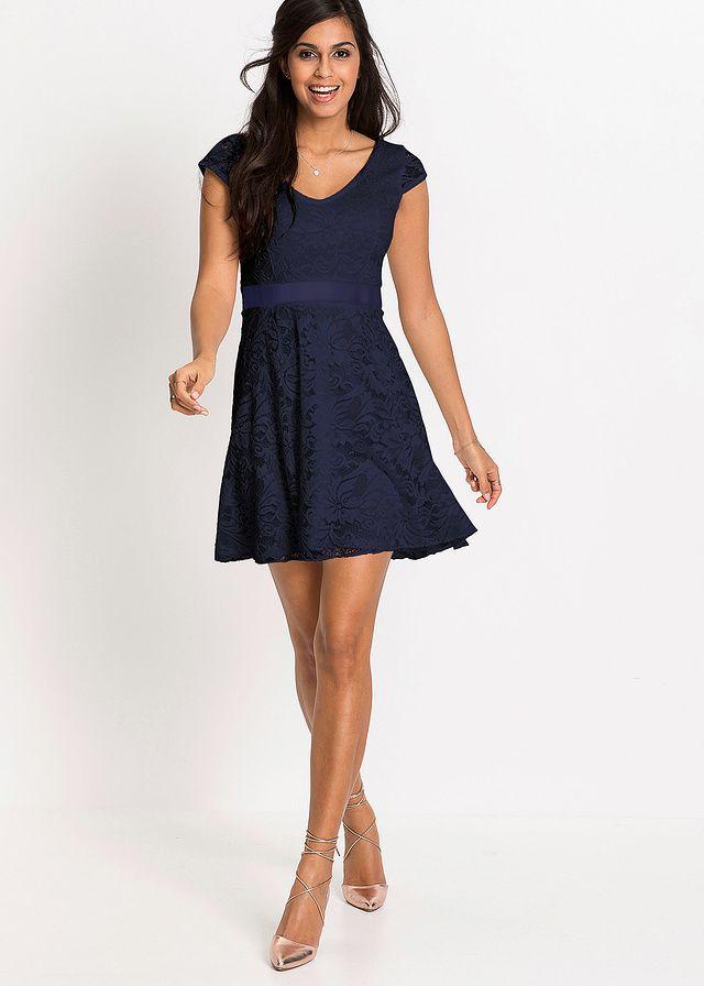 Koktajlowa granatowa sukienka z koronki   http://fashion4u.pl