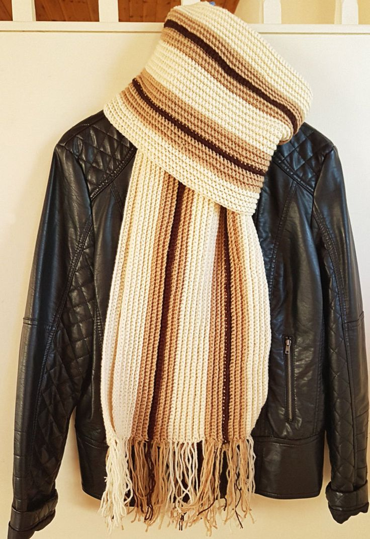 Crochet wool long scarf, Women's scarf, Men's scarf, Milky beige and brown unisex scarf with tassels. by GrandmasOldBox on Etsy