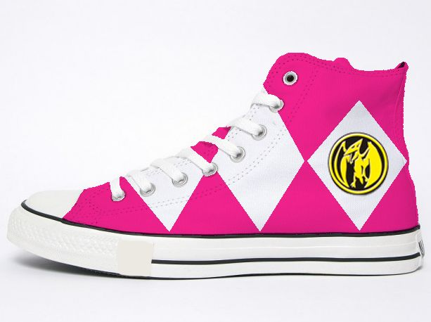 Pink Power Ranger Converse by ~dvsor2800 on deviantART Holy shit I need these!