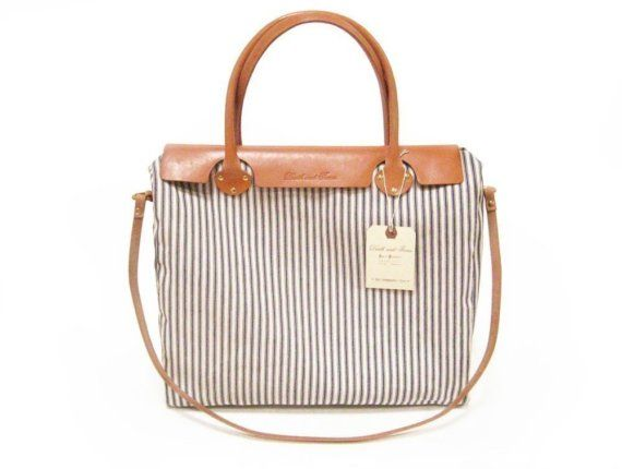 The Weekender Tote in Blue and White Striped Ticking by DNTX