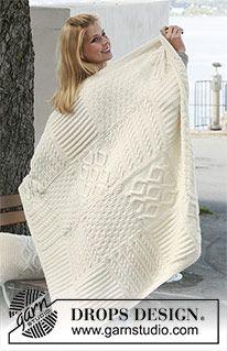 Warm Hug - Couverture DROPS composée de carrés tricotés en différents points structurés en «Nepal». - Free pattern by DROPS Design