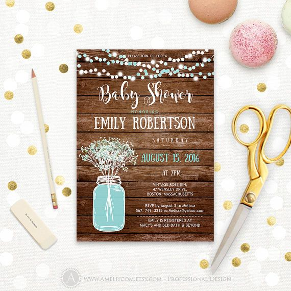 Rustic Baby Shower Invitation Printable Boy Blue Teal Mason Jar Baby Shower  Babyu0027s Breath Country Baby Shower Digital Instant DOWNLOAD PDF