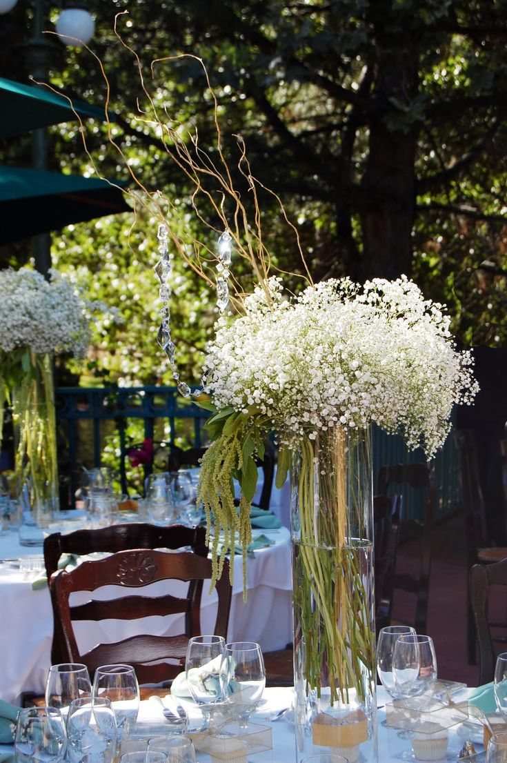 Tall Vase Wedding Centerpieces Cylinder Gl Flower And White Allium Flowers