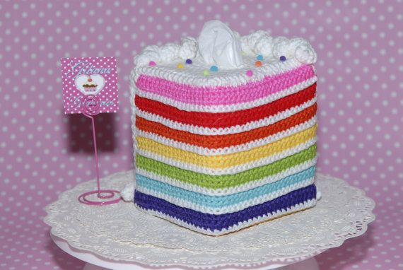 Rainbow Tissue Box Cozy Cover - From Gitana's Yummies New Collection on Etsy, $40.00