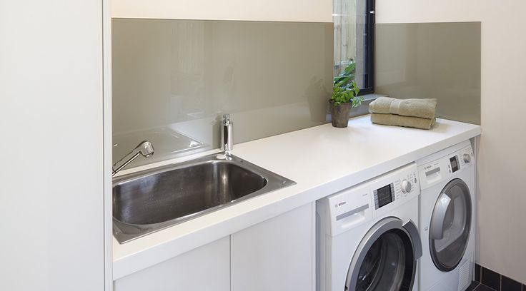 We do laundries as well! Consider adding a coloured splashback to continue design themes from other parts of the house #TheGoodGuys #Laundry