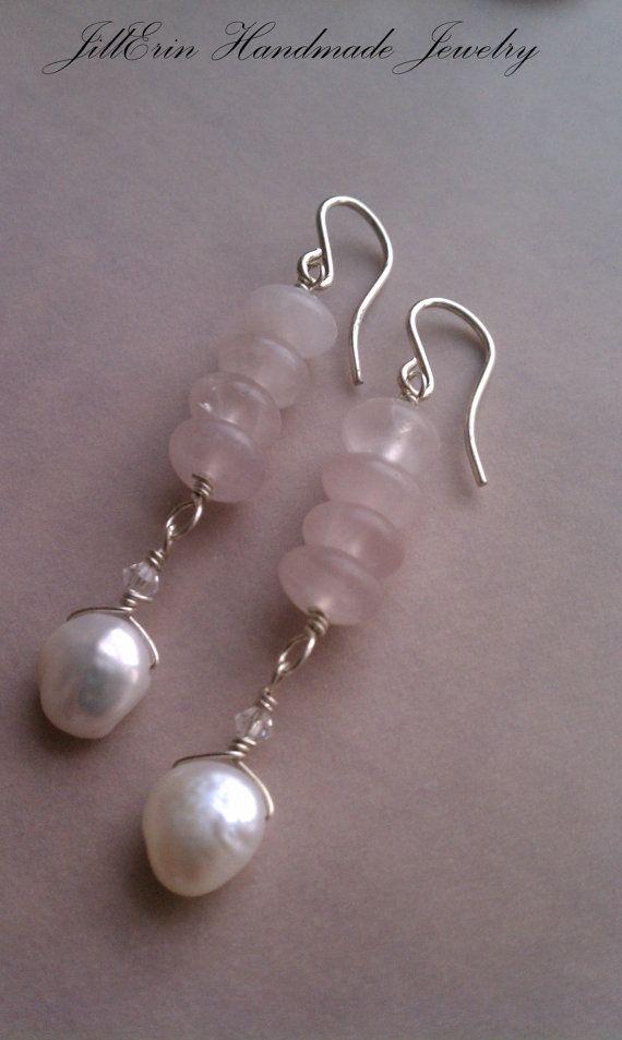 Sterling Silver Small Hooks with Rose Quartz por jillerinjewelry
