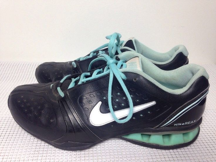 NIKE Reax  Leather Tennis Shoes Black/Teal Blue Running sz 6.5 415355-002