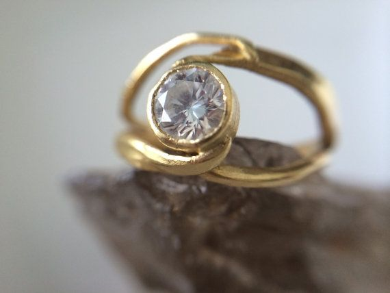 18kt Gold with 1/2 karat diamond Engagement Ring- organic gold engagement ring recycled rustic hammered-organic wedding bands-hammered gold
