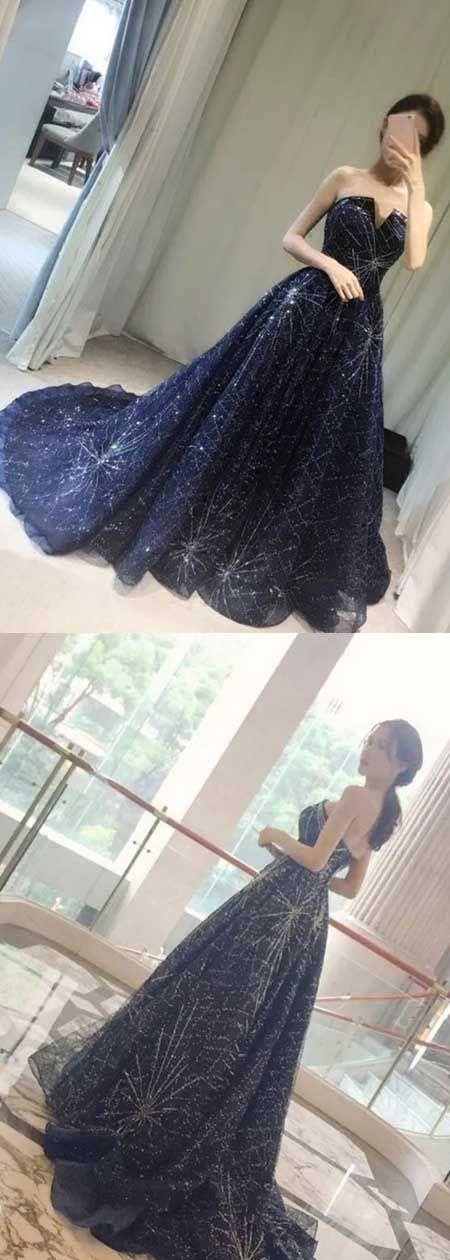 Elegant A-Line Strapless Navy Blue Sparkly Long Prom Dress