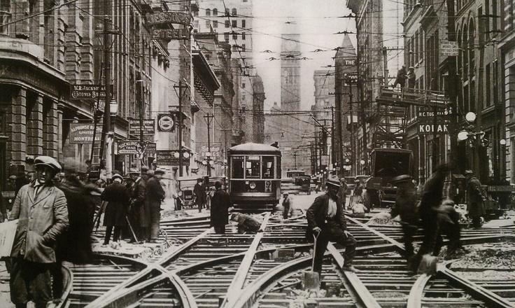 Building streetcar tracks on Bay street, Toronto c. 1918-20. #Toronto #History #Vintage
