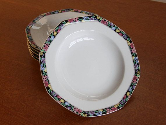 Christopher Stuart Midnight Garden Rim Soup Bowls