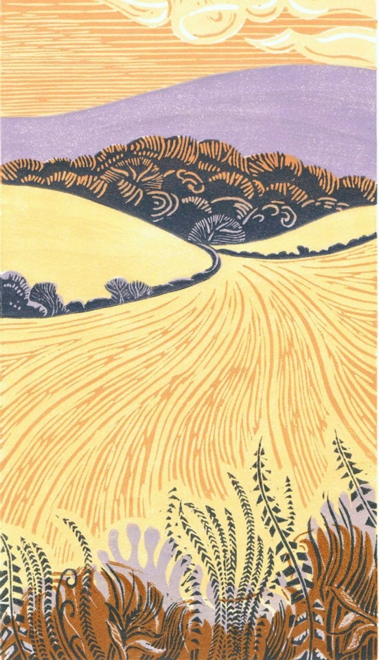 Ian O'Halloran - Folkington Hill after the harvest. Linocut