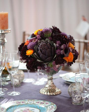 artichoke purple floral arrangement table scape centerpiece wedding event party fall autumn harvest