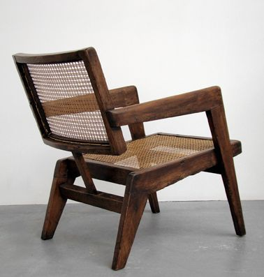 Pierre Jeanneret; Teak and Cane Armchair, c1960.                                                                                                                                                                                 More